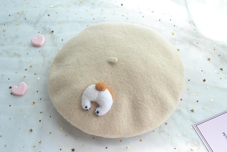 New Style Lolita Beret Cap Japanese Style Mori Girl Winter Warm Cute Corgi /Cat PP Hat For Women Wool Boina Hats