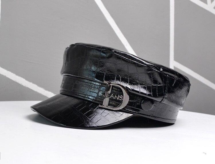 Faux Leather Military Caps Women PU Newsboy Cap Ladies Autumn Flat Top Octagonal Hats For Women Retro Beret Hat Visor