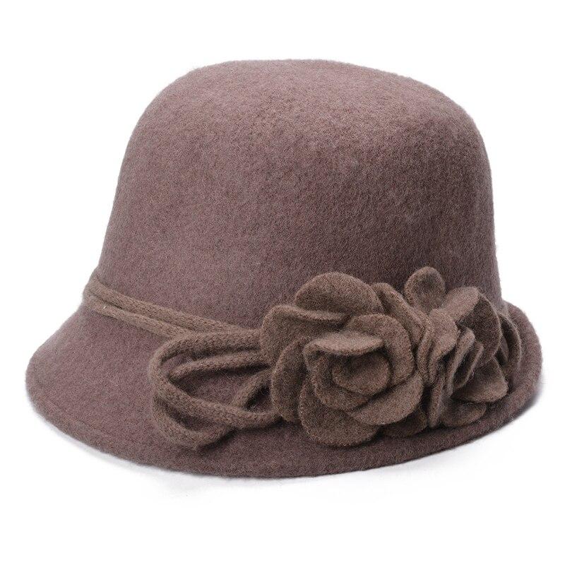 Winter Women Wool Fedoras Retro Collapsible Soft Flower Side Warm Wool Hat for Women Cloche Bucket Ladies Church Hats A466