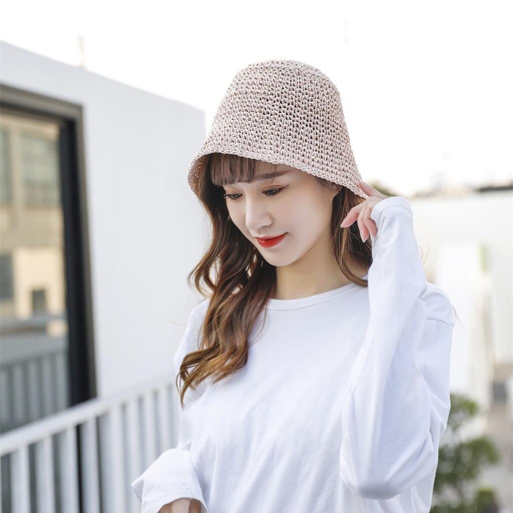 2020 Fashion Women Sun Hats Woven Straw Hat Female Beach Bucket Hat Casual Holiday Summer Sunscreen Hats For Women Christmas