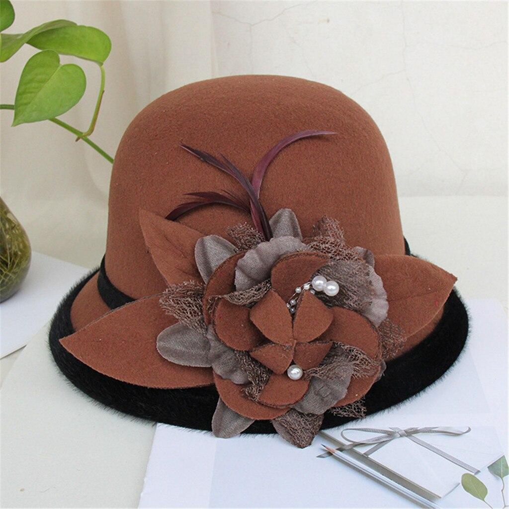 2020 New Women Floral Wool Cap Hats Fedoras Vintage Western Bucket Hats Woolen Bucket Hat Warm Female Bowler Hats Christmas