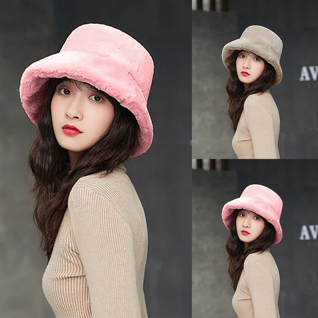 Faux Fur Winter Bucket Hat For Women Girl Fashion Solid Thicken Soft Warm Fishing Cap Outdoor Warm Flat Top Hat Cap Lady Panama