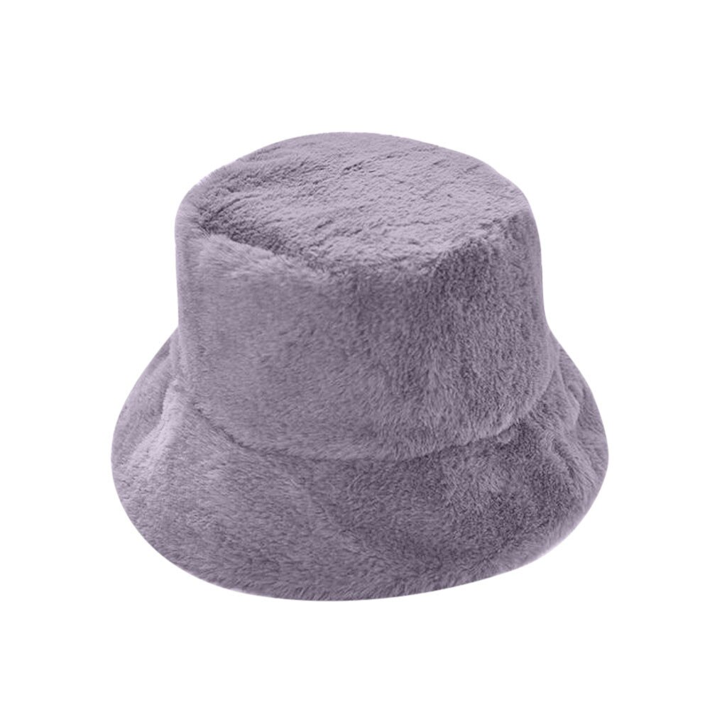 Faux Fur Winter Bucket Hat For Women Girl Fashion Solid Thickened Soft Warm Fishing Cap Outdoor Vacation Hat Cap Lady Christmas