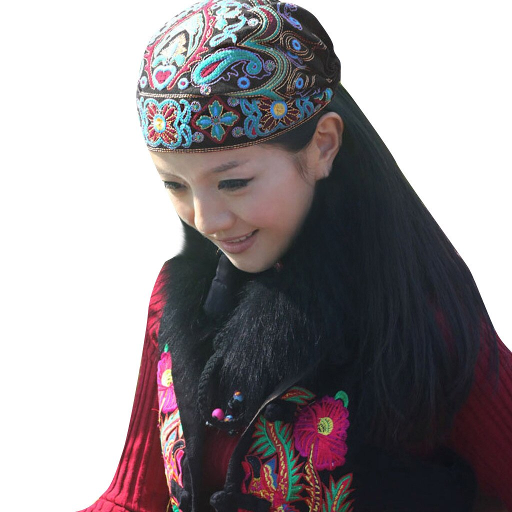 Feitong Bandanas Women Mexican Style Ethnic Vintage Embroidery Flowers Bandanas Red Print Hat winter hats for women Dropshipping