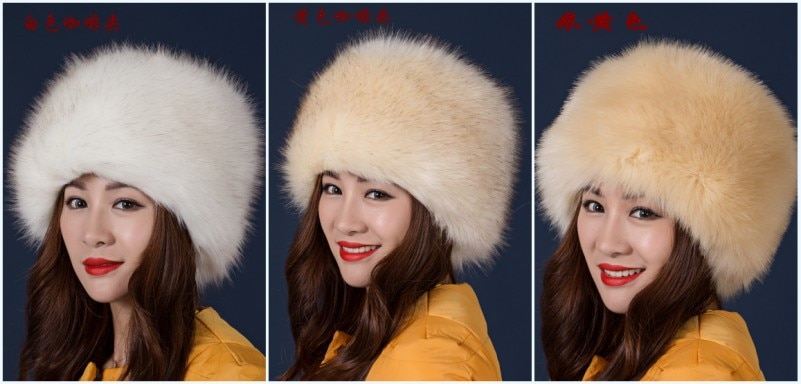 Winter Faux Fox Fur Cotton Bomber Hats For Women Outdoor Windproof Thicken Ear Protection Warm Furry Caps