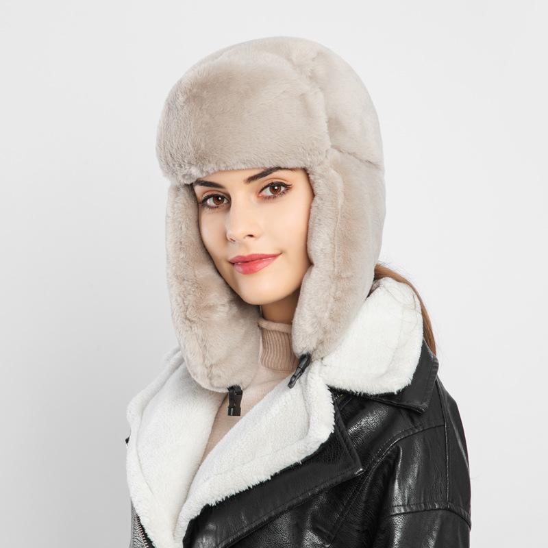 Winter Women Bomber Hats Cap Velvet Warm Thickened Ear Flaps Russian Bomber Hat For Women Earflap Caps Winter Hats New 2019