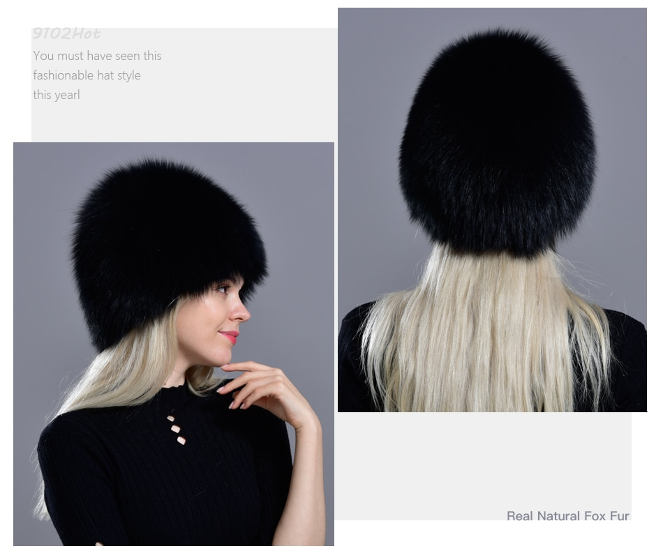 Winter Fur Hats for women natural arctic fox fur warm thick knitted fashionable stylish girls outdoor snow skull beanie hat