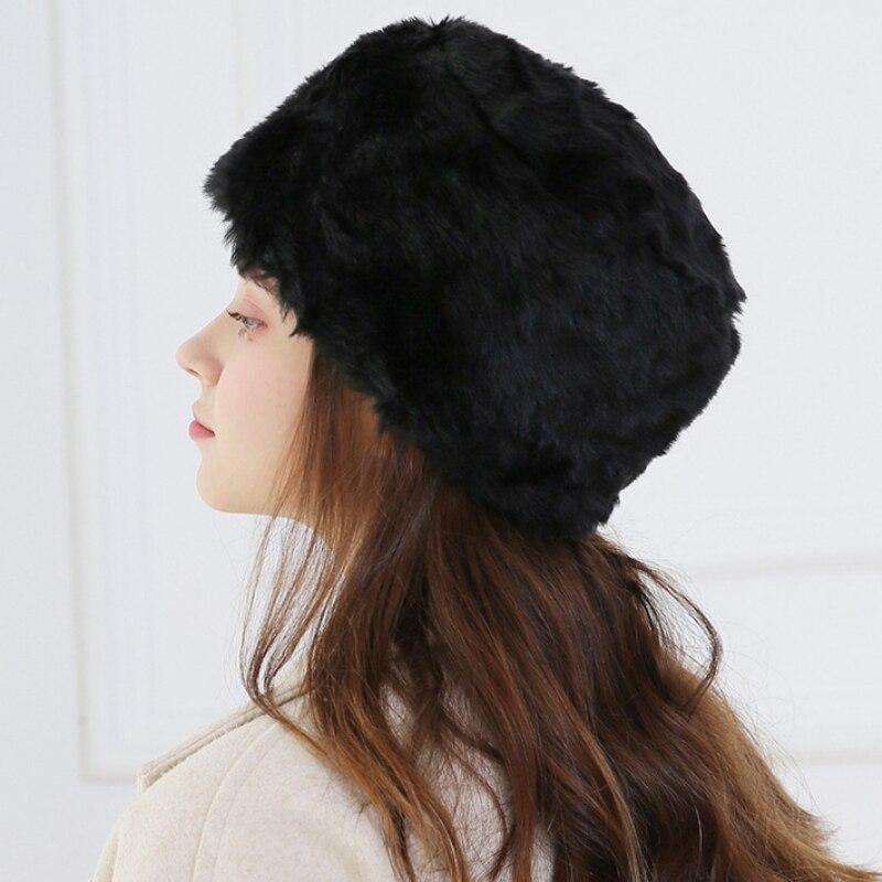 Fur Hat For Women Tick Fluffy Fur Hat Headband Russian Winter Thick Warm Ears Fashion Bomber Hat