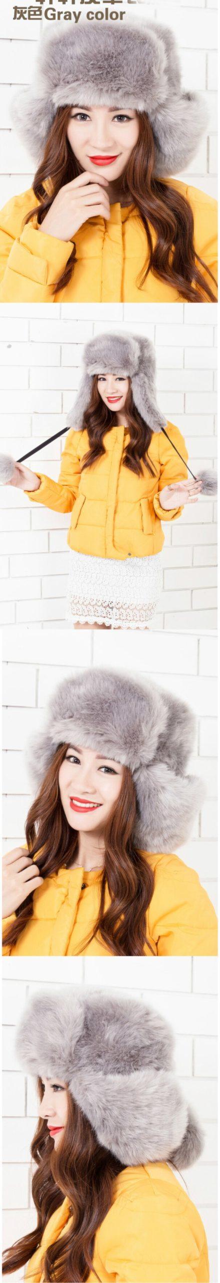 MZ248 Women Winter Hat Solid Black Grey White Ladies Bomber Hats Caps Warm Russian Ushanka Hats Rabbit Fur Hats for Women