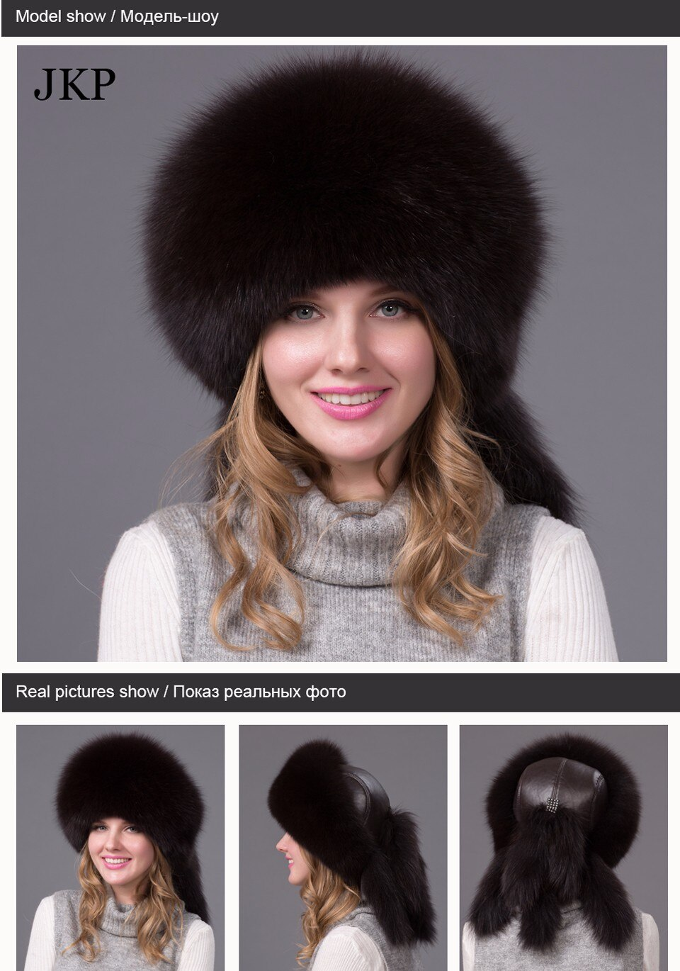 Hot Sale Real Fox Fur Hat for women winter Fox fur beanies cap with fox fur 2020 Solid New thick female cap Bomber Hats HJL-06X