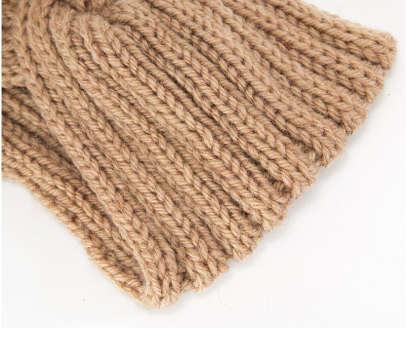 Winter Cap Solid Color Knitted Hats Ponytail Beanie Winter Hat Women Braided Hair Band Warm Beanies Twisted Knot Ear Protection