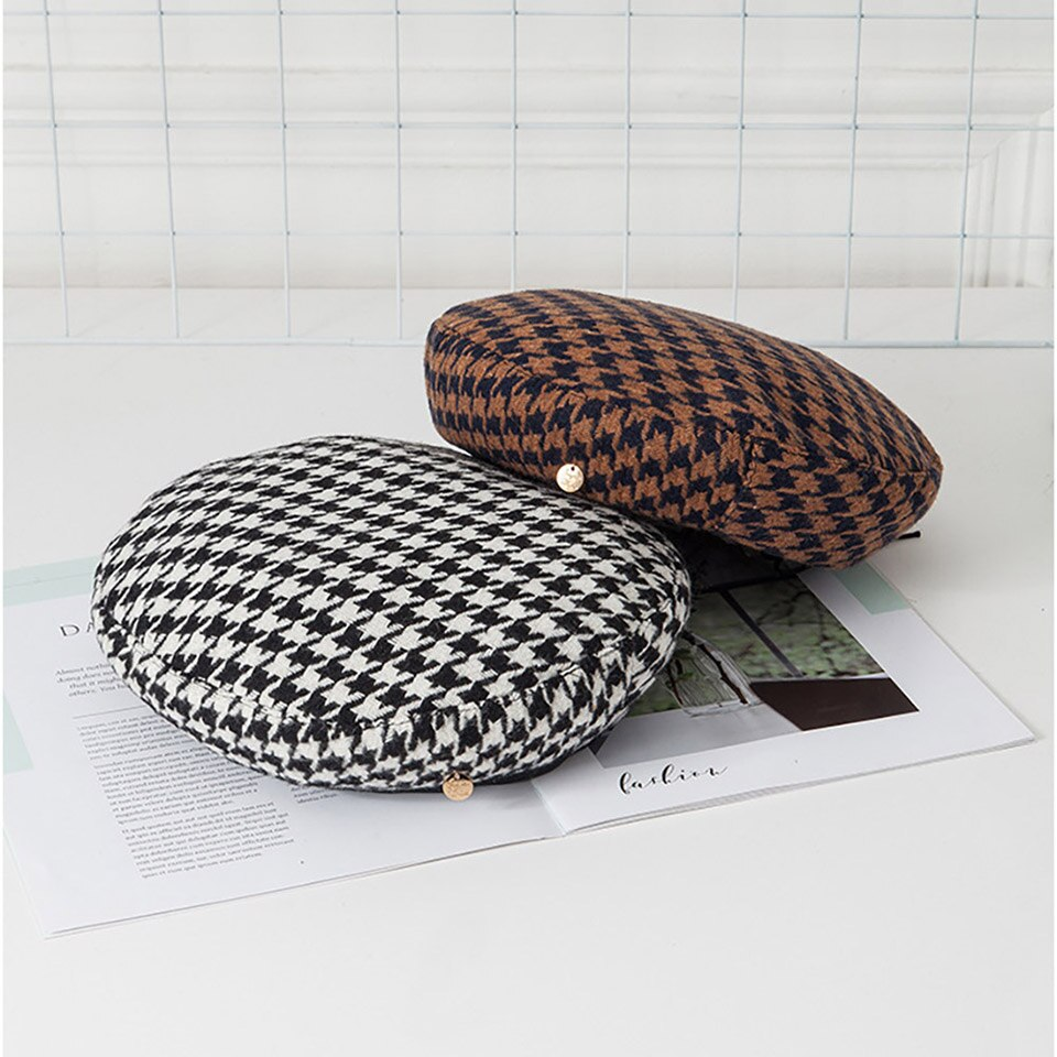 Plaid Beret Hats For Women Ladies French Artist Beret Adjustable Rope Caps Fashion Female Houndstooth Beret Winter Autumn Hats