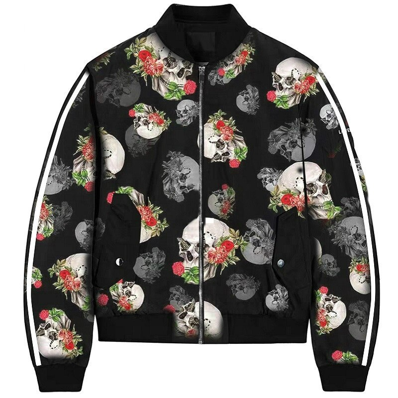 ZOGAA Plus Size Autumn Women's Jackets Retro Floral Skull Printed Coat Female Long Sleeve Outwear Clothes Bomber Jacket Tops 3XL
