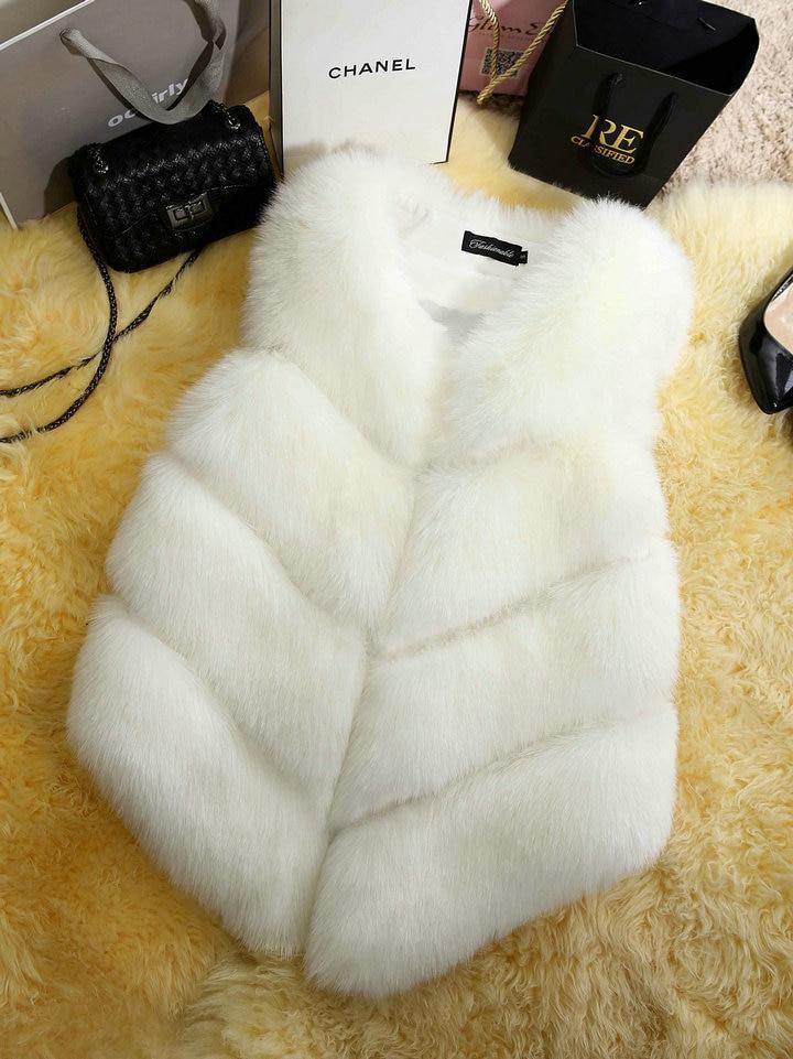 JULY'S SONG 2020 New Fashion Faux Fur Coat Winter Women Waist Coat Gilet Female Jacket Fur Vest Fluffy Solid Color For Ladies