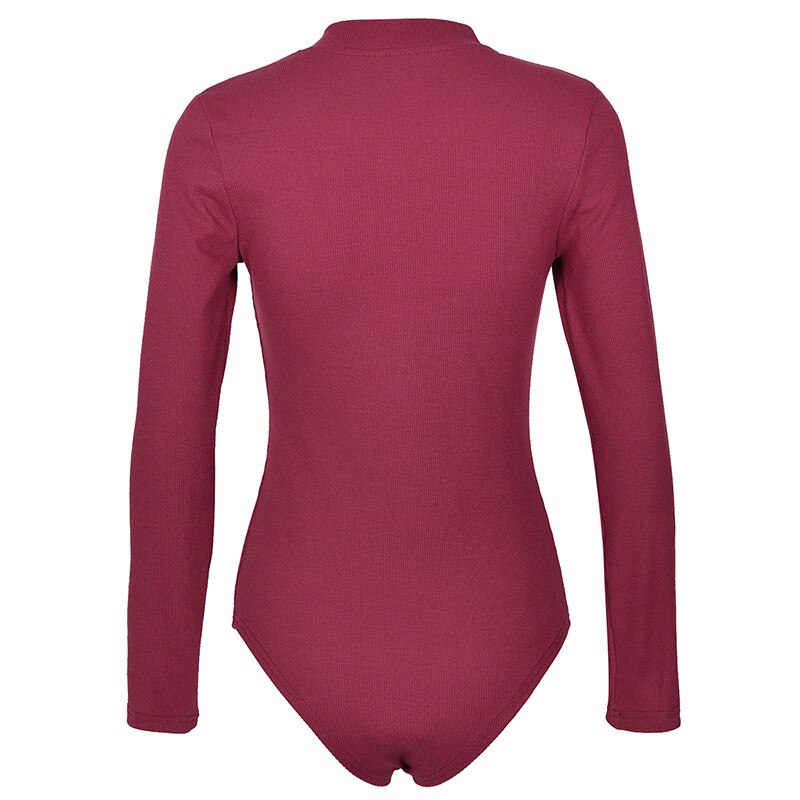 One-Piece Knitted Bodysuits Autumn Women Sexy Club Outfits V-Neck Long Sleeve Body Tops Rompers Casual Buttons Bodysuit M0446