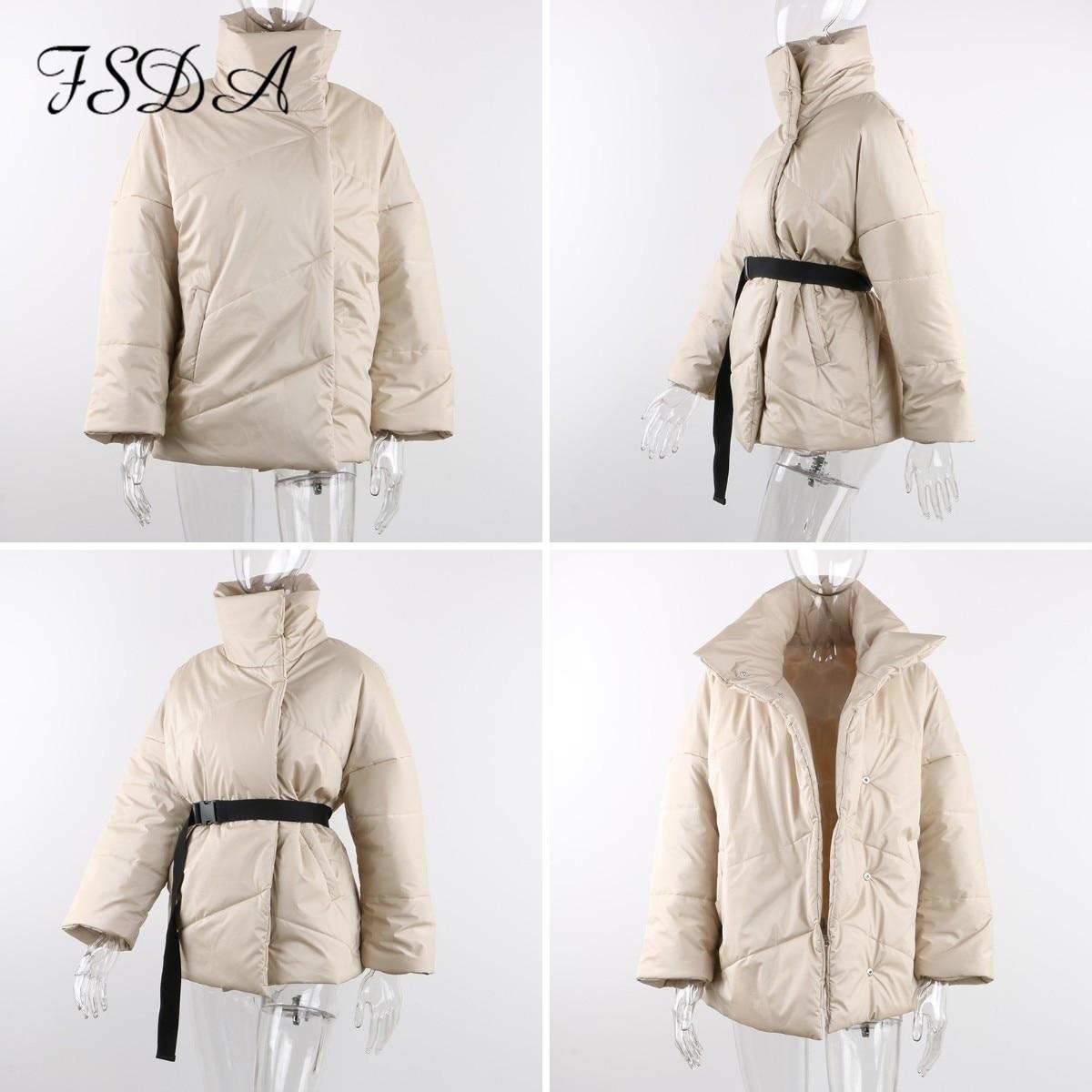 FSDA Autumn Winter Women Coat Jacket Parkas Warm With Belt Casual 2020 Loose Pocket Bubble Khaki Sashes Short Jackets Thick