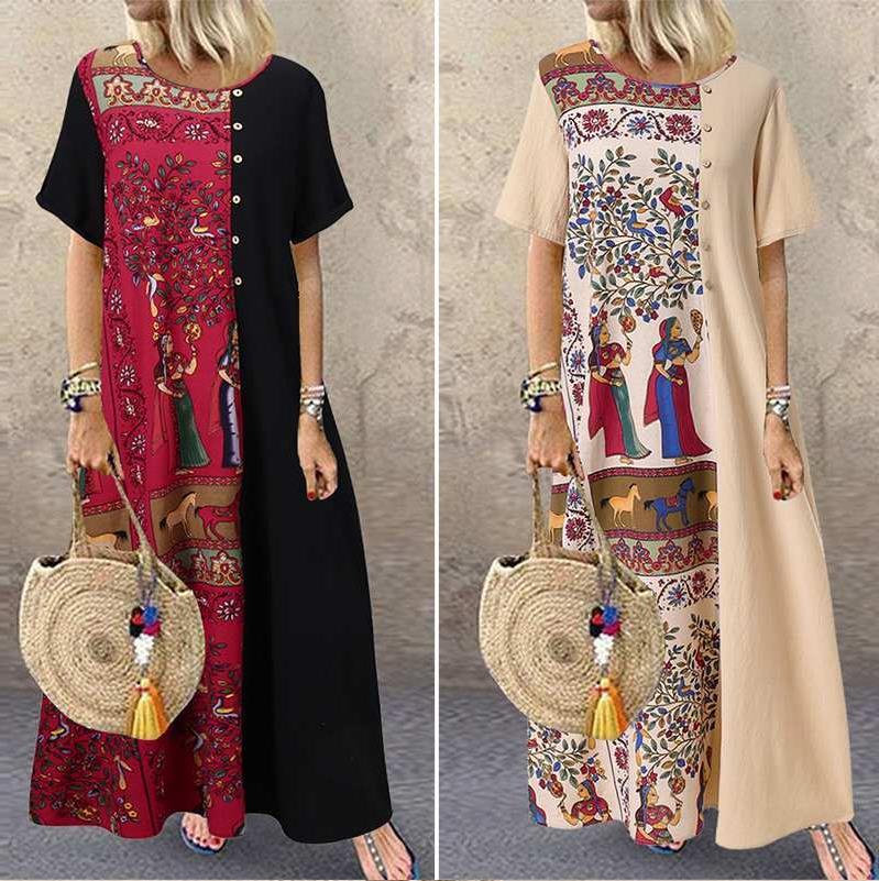 Women Bohemian Sundress Vintage Printed Patchwork Dresses Short Sleeve Vestidos Cotton Linen Baggy Beach Party Kaftan Robe Femme
