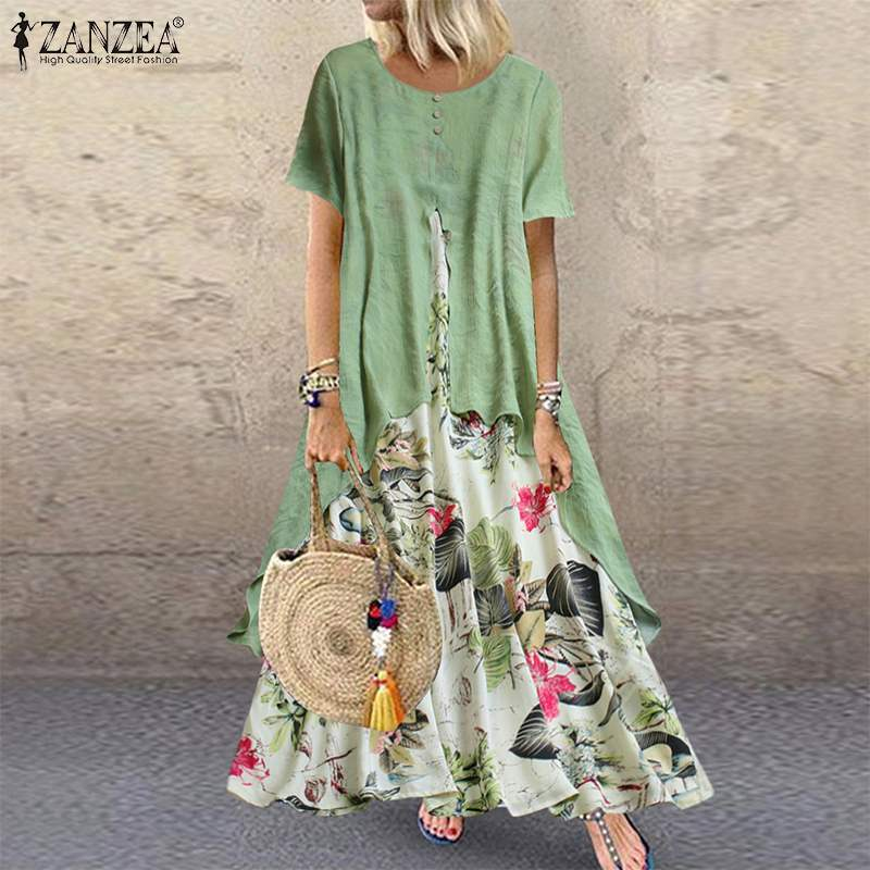 ZANZEA Pacthwork Long Dress Summer Short Sleeve Women Vintage Floral Printed Sundress Casual Retro Party Vestido Femme Dresses