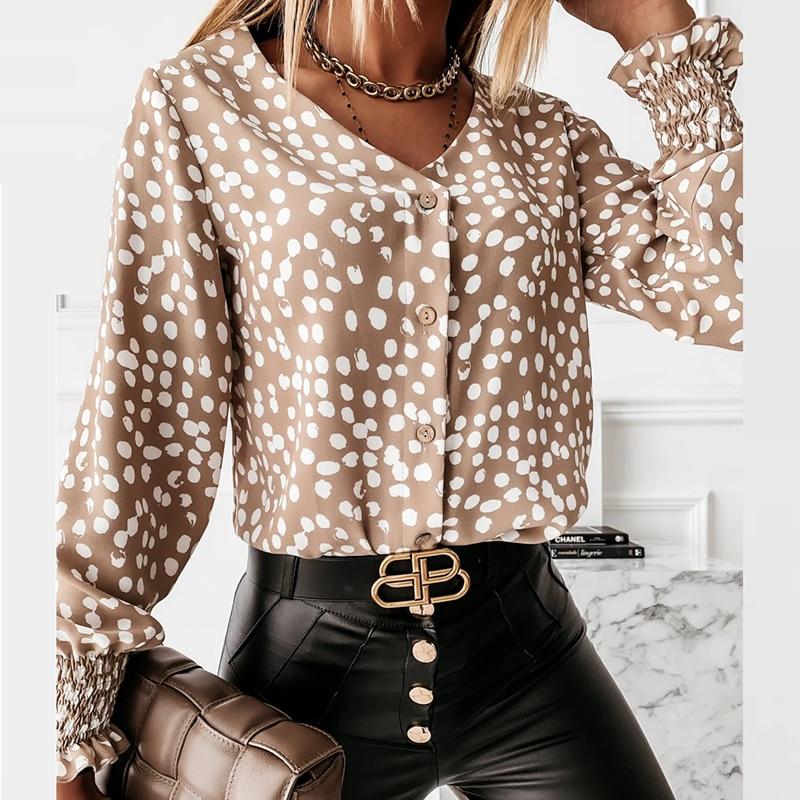 Lady Autumn Long Sleeve Polka Dot Ruffle Blouse Shirt Elegant Casual O Neck Buttons Pullover Women 2020 Spring streetwear Tops