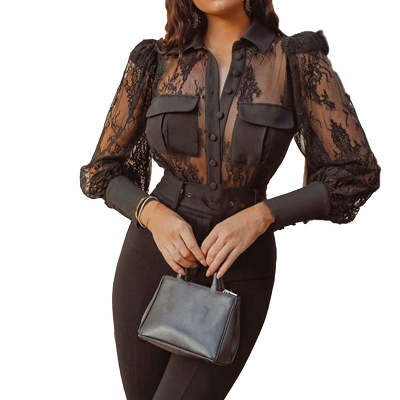 Sexy Transparent Lace Patchwork Black Hollow out Shirt Blouse Women Stylish Long Lantern Sleeve Mesh Tops Blouse