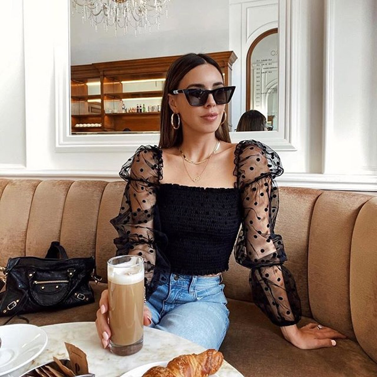Sexy Women Wrinkled Backless Blouse Shirt Mesh Sheer Puff Sleeve Wrap Chest Tops 2020 Spring Summer Ladies Dots Blouse