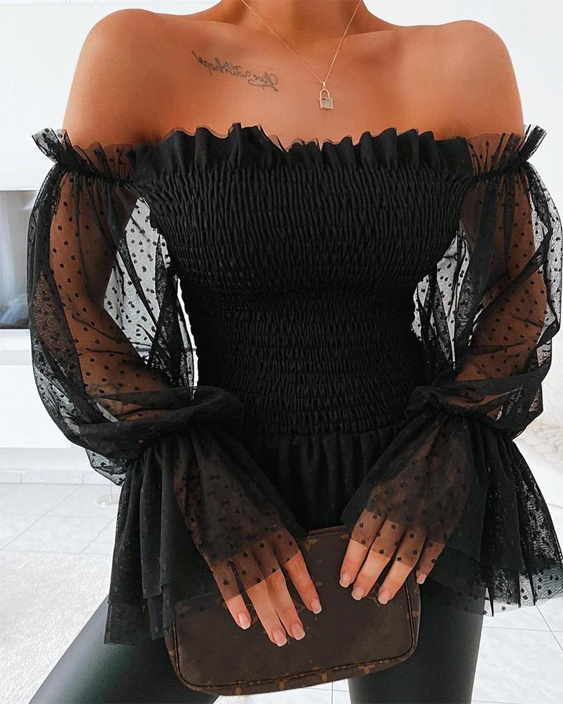 wsevypo New Sexy Off Shoulder Blouse Women Mesh Flare Sleeve Shirts Summer Fashion Sheer Long Sleeve Lace Frill Blouser Tops