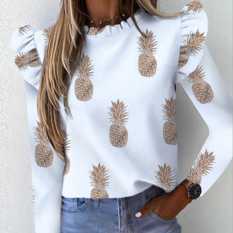 Autumn Elegant Lily Print Ruffle Ladies Blouse Long Sleeve O Neck Women Slim Pullover Tops Streetwear Plus Size Soft Shirt Blusa