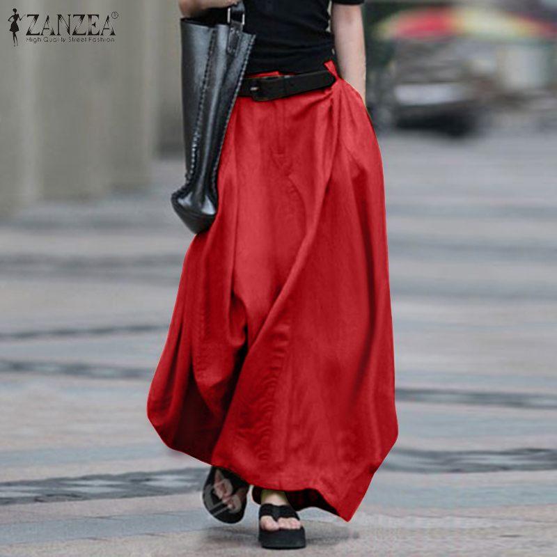 2020 Vintage Summer Skirts ZANZEA Women High Waist Solid Cotton Linen Skirt Saia Female Beach Maxi Long Skirts Jupe Faldas 5XL 7