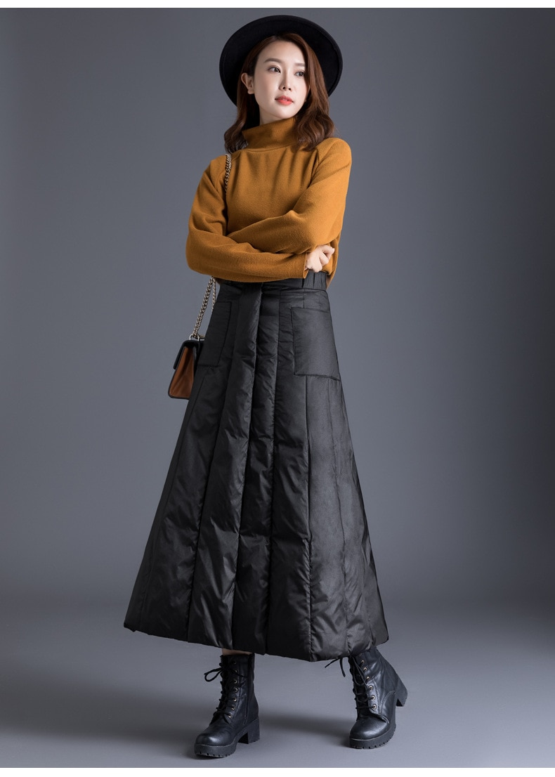 Duck Down plus size winter maxi skirts womens black vintage 2020 high waist clothes casual loose long skirts for women 3XL