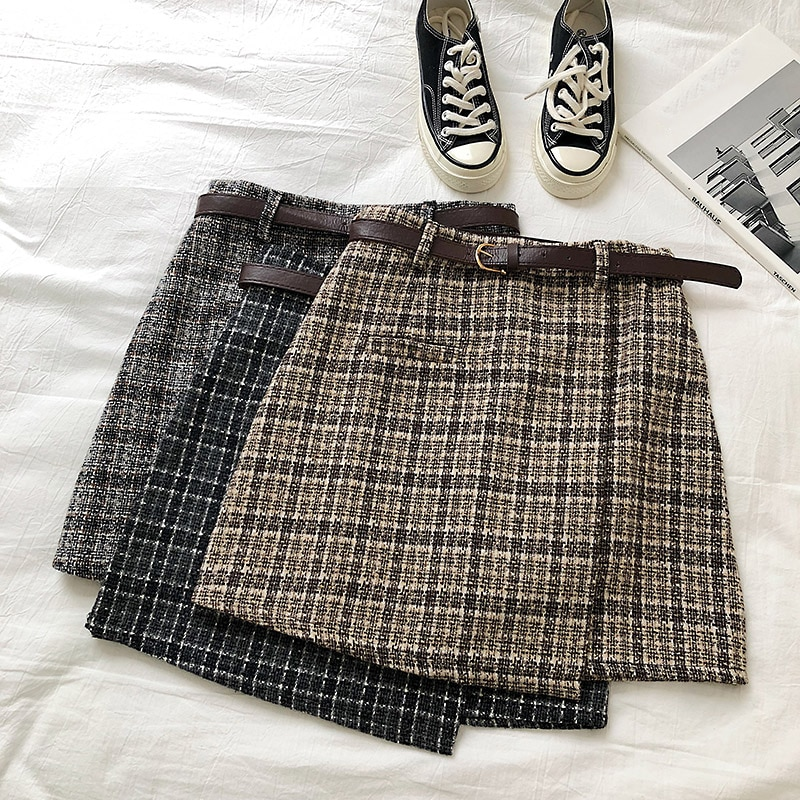 Korean Irregular Lady Skirt Female Autumn Sweet High Waist A-line Mini Skirt Vintage Casual Women Plaid Skirt Chic Sashes