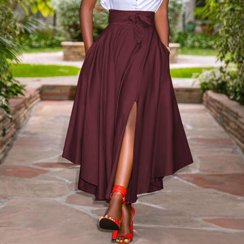 ZANZEA Women Skirts Summer Vintage Zipper Long Maxi Skirts High Waist A-line Skirt Solid Irregular Beach Skirt Faldas Saia S-5XL