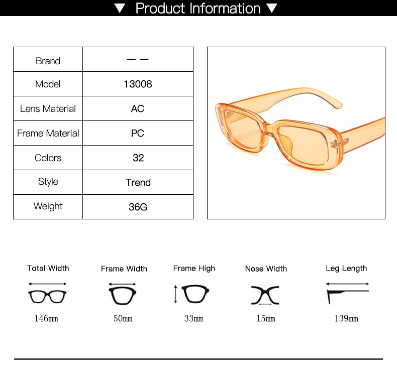 VCKA Small Rectangle Sunglasses vintage shades for women candy color Eyewear mirror Square sun glasses retro Flat Top Clear Lens