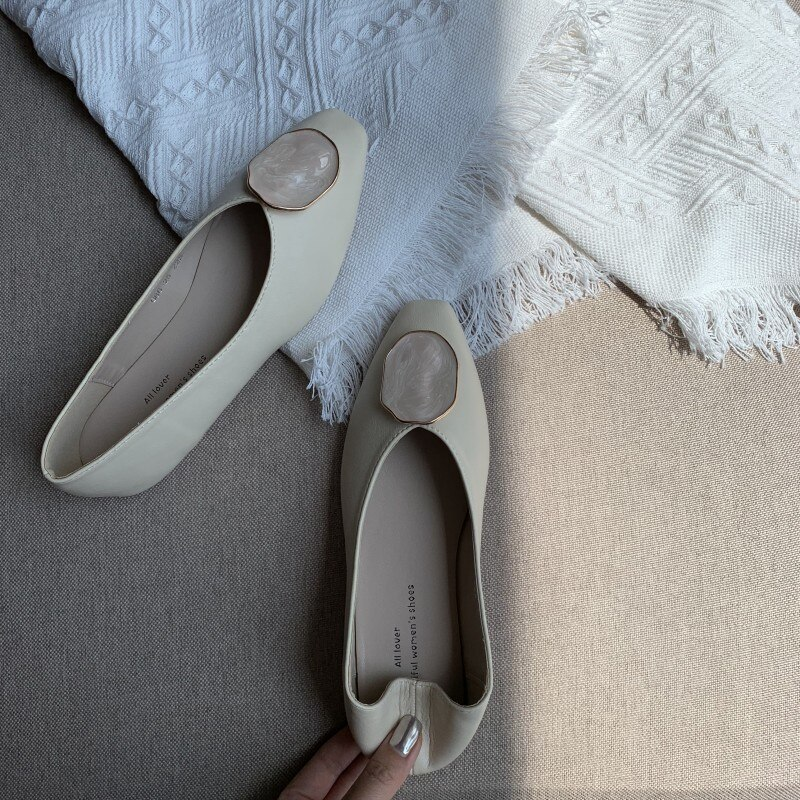 Women Flats Shoes Low Wooden Low Heel Ballet Square Toe Shallow Buckle Brand Shoes Slip On Loafers zapatos de mujer