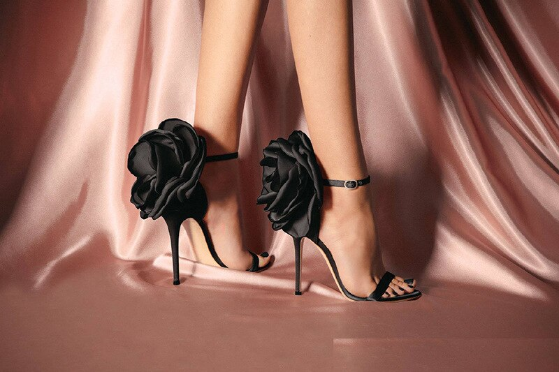 Flower Shoes Woman European And American-Style Big Flower Sandals Shoes Evening Nightclub Shoes Black Powder High Heels Sandals