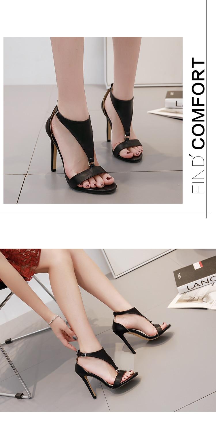 Aneikeh Pumps Brown T Strap Stiletto Heels Open Toe Sandals for Women Summer Buckle Strap Gladiator Sandals High Heels Shoe