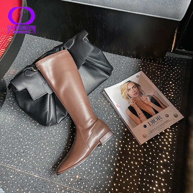 AIMEIGAO Fashion Genuine Leather Knee High Boots Women 2020 Winter Sewing Plush Cowhide Boots Female Zip Square Toe Shoes Lady