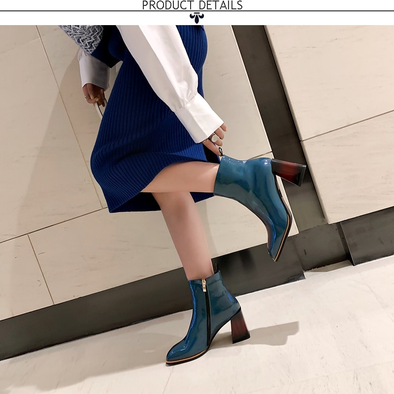 ZVQ genuine leather women's shoes 2019 winter autumn office blue black ankle boots 34-40 size square toe 6cm high heels booties