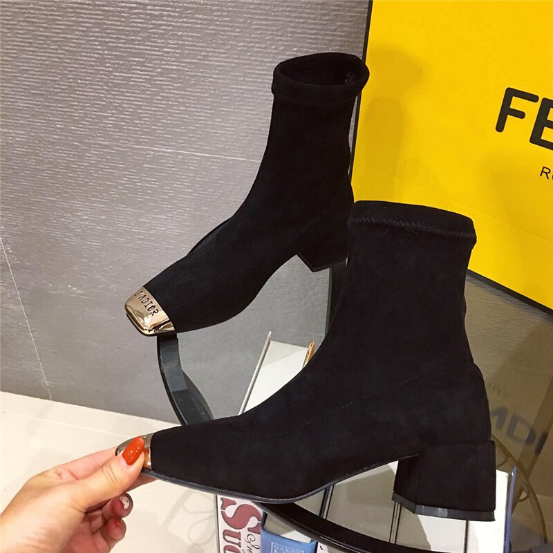 Fashion Women Over The Knee Sock Boots 2020 Autum Thick High Heels Stretch Fabric Long Boots Sqaure Toe Elasitc Slim Botas Mujer