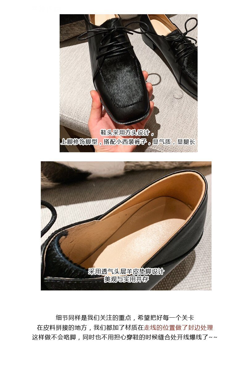 INS hot women Pumps Genuine Leather 22-25cm Velvet leopard print leather stitching thick with square head shoes woman