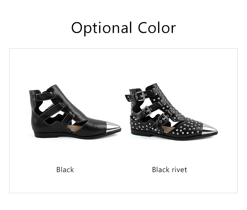 Perixir 2020 Metal Pointed Toe Short Boots Sandal Woman Luxury Buckle Straps Martin Boots Cut Out Fashion Cool Shoes Woman