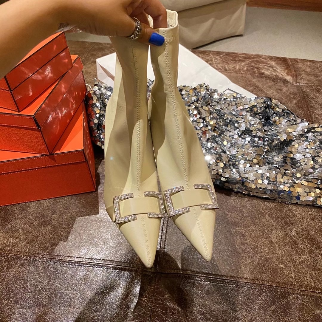 Elegant Flock Ankle Boots Pointed Toe Stretch Boots Back Zipper Rhinestone Metal Design Short Boots Fashion Autumn Boots Woman