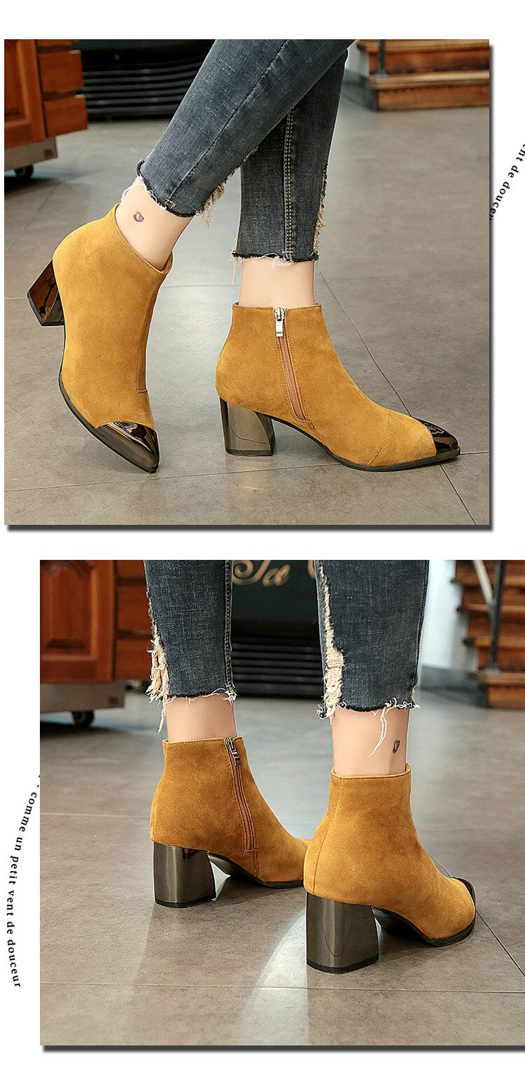 New Fashion Ladies High Heels Boots Warm Shoes Pointed toe Women Winter Chelsea Boots Women Ankle Boots Square Heel 6cm L046