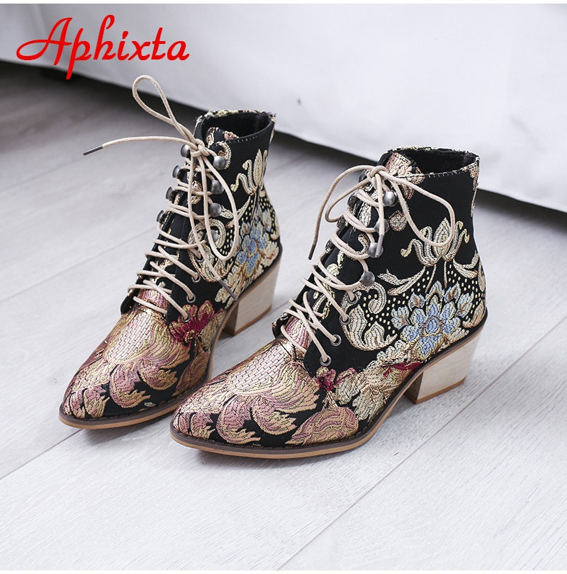 Aphixta Retro Shoes Women Embroidery Flower Ankle Boots Lady Elegant Lace Up Female Silk Wood Chunky High Heel Botas Mujer