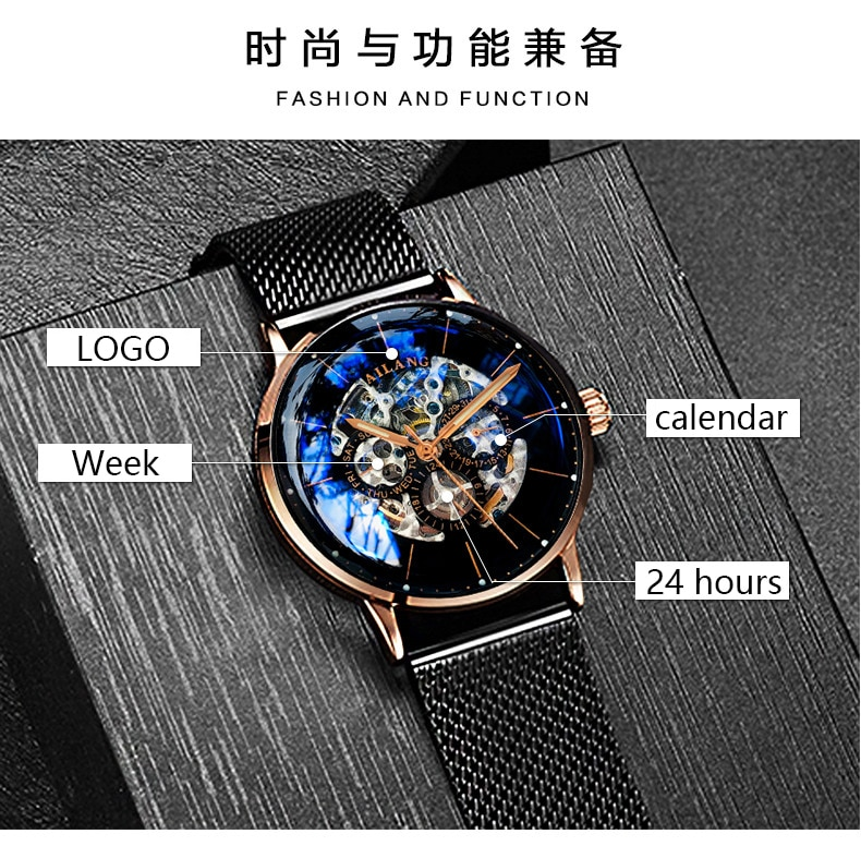 AILANG Top design watch Minimalist tourbillon men's automatic watch mechanical gear Swiss wrist watches quality diesel Gentleman