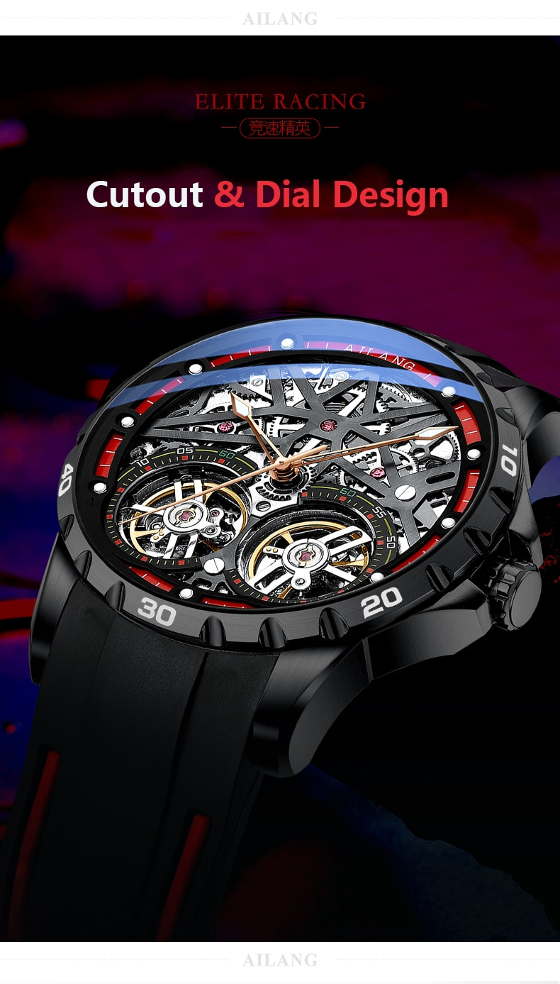 AILANG 2020 new men's watch double tourbillon watch automatic hollow machine watch silicone belt section men's luminous waterpro