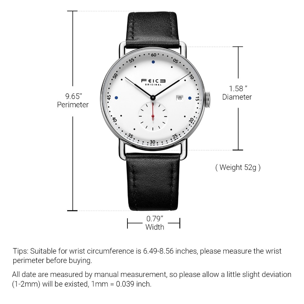 FEICE New Men's Automatic Watch Unisex Classic Bauhaus Mechanical Watch Curved Mirror Waterproof Casual Dress Watches FM506