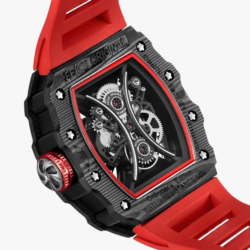 FEICE Luxury Tourbillon Skeleton Watch Automatic Mechanical  Watches for Men Creative Fashion Sport  Waterproof  Watch FM602N