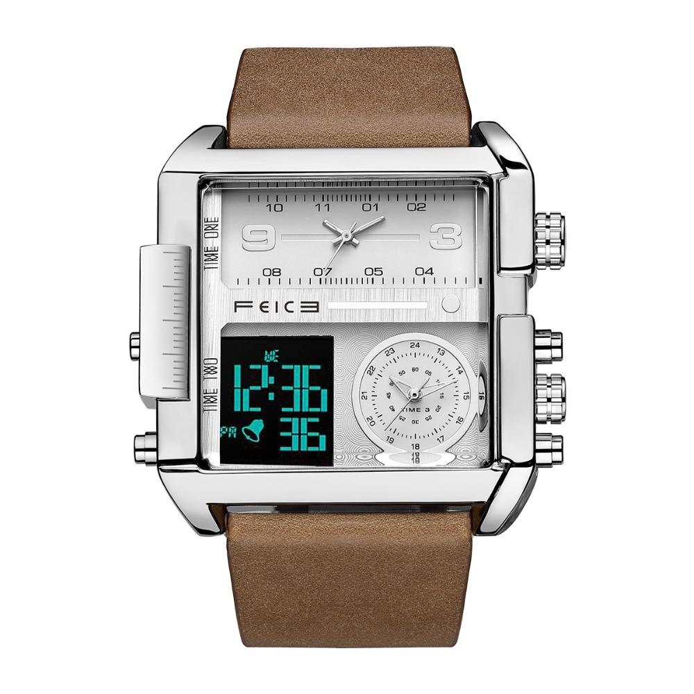 FEICE 2020 Men's Quartz Watch for Men Luxury Casual Fashion Multifunctional Digital Display 3 Sub-Dials Sport Wristwatch FK030