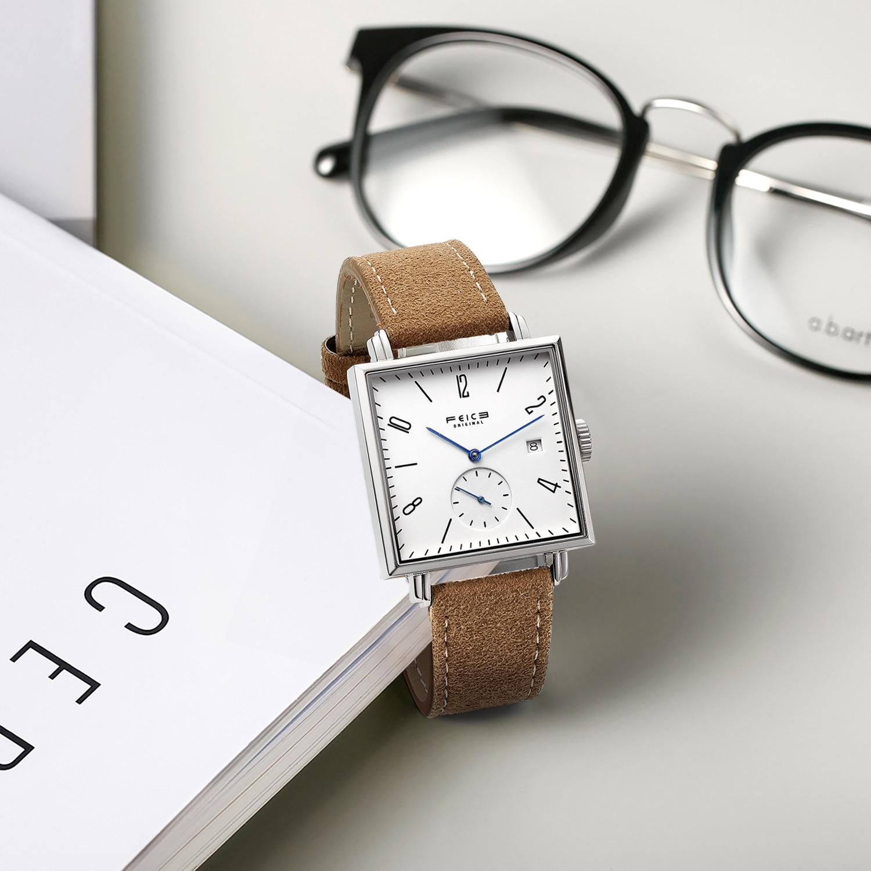 FEICE Unisex Square Watch Bauhaus Automatic Watch Waterproof Mechanical Watches Analog Wristwatch -FM301