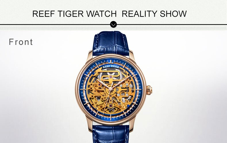 Reef Tiger/RT Mens Designer Automatic Watch Steel Case Yellow Gold Skeleton Dial Blue Leather Strap Watch RGA1975